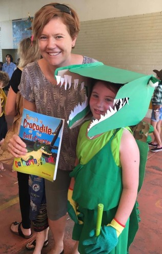 Croco Book Week Costume. Rachel Barnett. Author. Illustrator. There's a Crocodile on the Golf Course.